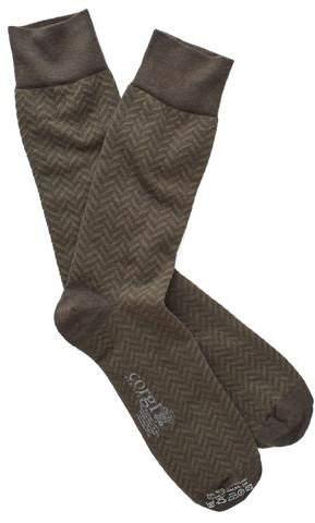 Corgi Herringbone Socks in Olive