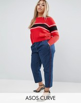Asos Denim Trousers With Red Side Piping