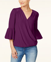 INC International Concepts Bell-Sleeve Surplice Top, Created for Macy's