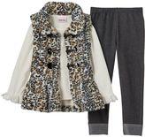 Little Lass Girls 4-6x Leopard Faux-Fur Vest, Tee & Faux-Denim Leggings Set