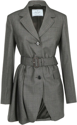 Prada Belted Single Breasted Blazer