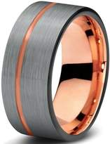 Midnight Rose Collection Tungsten Wedding Band Ring 9mm for Men Women Black & 18K Rose Gold Pipe Cut Brushed Polished Lifetime Guarantee