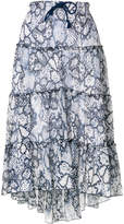 See by Chloe tiered snake print midi skirt