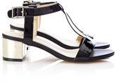 Wallis Black Patent Block Heel Sandal