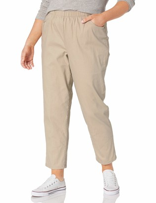 Chic Classic Collection Women's Size Plus Cotton Pull-On Pant with Elastic Waist
