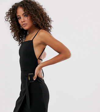 Asos Tall DESIGN Tall strappy back wrap mini dress with tortoise shell buckle-Black