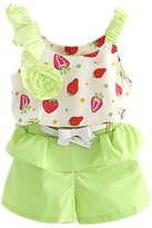 FTSUCQ Little Girls Strawberry Printed Tank Top with Shorts Two-pieces Sets, 100