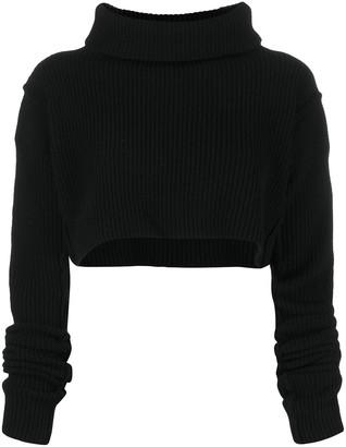 Andrea Ya'aqov Cropped Wool Knit Top