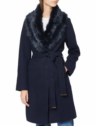 Yumi Women's Navy Fur Wrap Coat with Spot Lining 14