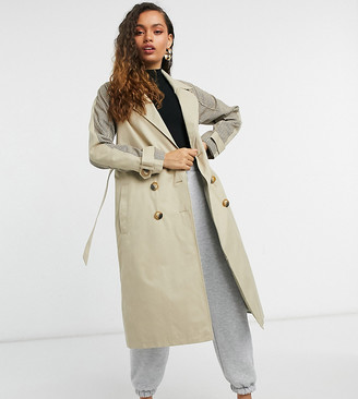 Urban Code Petite Urbancode Petite trench coat with check splicing