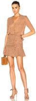 Veronica Beard Dakota Flounce Dress in Brown,Floral.