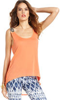 GUESS Top, Sleeveless Scoop-Neck Beaded High-Low Tank