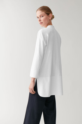 Cos Cotton Shirt With Bonded Hem