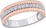 Affinity 1/4 cttw Diamond Three Row Ring, 14K Rose Gold