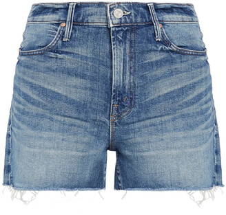 Mother Frayed Faded Denim Shorts