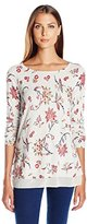 Lucky Brand Women's Floral Printed Pullover in Grey Multi