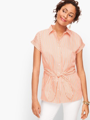 Talbots Tie Waist Button Front Stripe Shirt