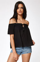 La Hearts Lace-Up Smocked Off-The-Shoulder Top