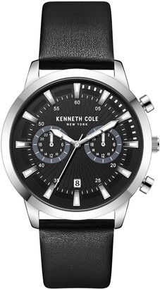 Kenneth Cole NY Men's Dual Time Black LeatherBand Watch
