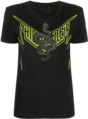 Philipp Plein sequin snake T-shirt