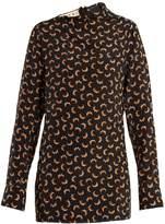 Marni Scrawl-print asymmetric-neckline silk blouse