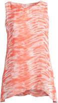 Seven Karat Women's Blouses Coral - Coral Abstract Sidetail Sleeveless Top - Plus