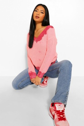 boohoo Petite Tie Dye Distressed Jumper