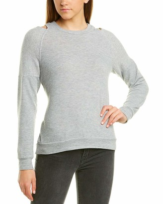Michael Stars Women's Madison Brushed Jersey Long Sleeve Open Neck Top