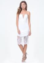 Bebe Lace Trim V-Notch Dress