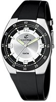 Calypso Men's Quartz Watch with Silver Dial Analogue Display and Black Plastic Strap K6044/3