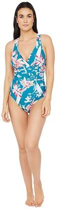 La Blanca Flyaway Orchid Multi Strap Cross-Back Mio One-Piece Swimsuit (Caribbean Current) Women's Swimsuits One Piece