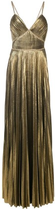 Marchesa Notte Metallic Pleated Gown