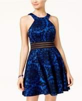 City Studios Juniors' Illusion Flocked Fit & Flare Dress