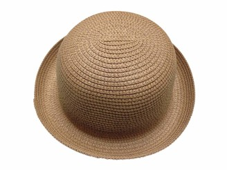 ACVIP Womens Summer Roll-Up Brim Straw Bowler Hats Cloche Sun Cap Headwear (Light Coffee)