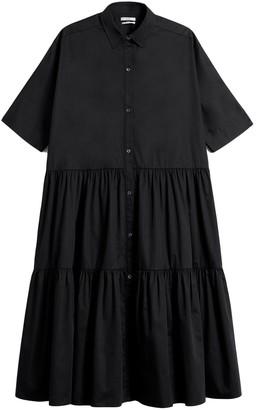 Co Drop Waist Tiered Dress in Black