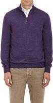 Barneys New York Men's Virgin Wool Mock-Turtleneck Zip-Front Sweater-PURPLE