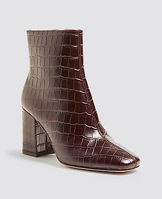Ann Taylor North Embossed Leather Heeled Booties