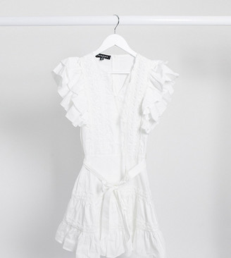 Parisian Tall frill sleeve lace trim mini dress in white