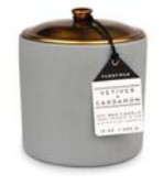 Hygge Eclectic Lifestyle Company - Vetiver and Cardamom Ceramic Candle - Grey/Gold