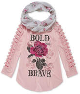 Arizona ArizonaLong Open Crochet Sleeve Graphic Top with Scarf - Girls' 4-16 & Plus