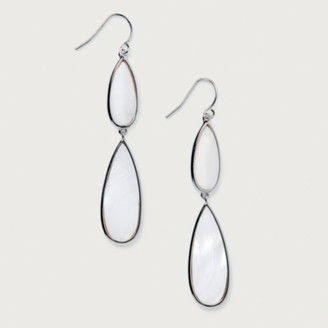 The White Company Mother-of-Pearl Pendant Earrings, Silver, One Size