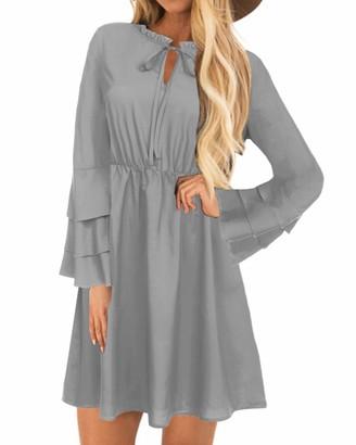 YOINS Women Long Sleeve Mini Dresses Ladies Wedding Elegant Dress Spring Round Neck Long Shirt Loose Tunic Dresses B-Navy S