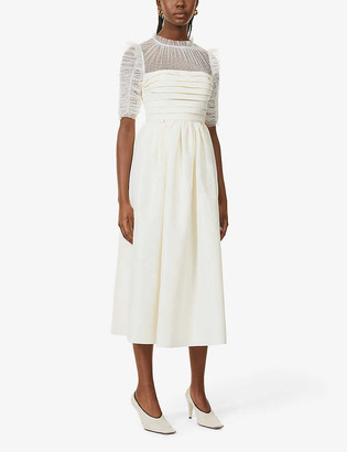 Self-Portrait Pleated lace and woven midi dress