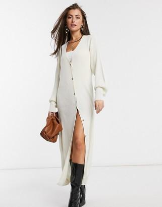 Pretty Lavish longline button knit cardigan dress in cream