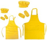 Opromo Cotton Canvas Kitchen Apron, Chef Hat and Oversleeves Set for Women and Kids - ,XXL