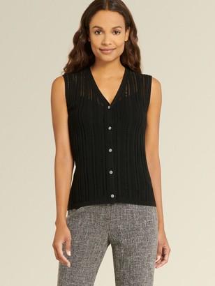 DKNY Donna Karan Women's Sleeveless Crochet Sweater - Black - Size XX-Small