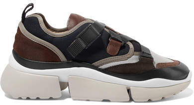 Chloé Sonnie Canvas, Mesh, Suede And Leather Sneakers - Navy