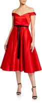 Marchesa Off-the-Shoulder Satin Midi Dress
