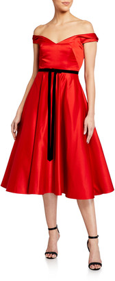Marchesa Off-the-Shoulder Satin Midi Dress