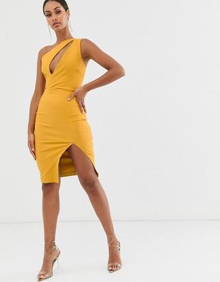 Vesper one shoulder midi pencil dress in stretch with split in golden yellow